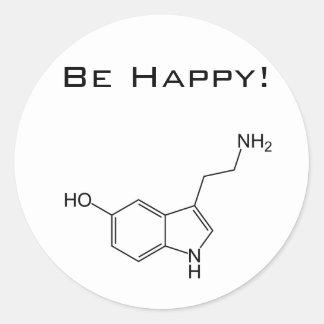 ¡Sea feliz! Pegatina de la serotonina