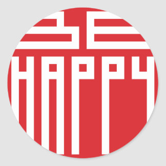 sea feliz pegatina redonda