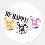 ¡Sea feliz! Pegatina Redonda
