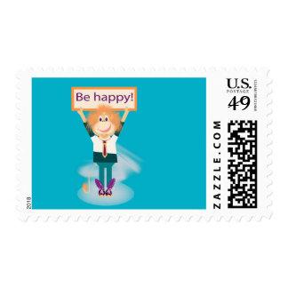 ¡Sea feliz! Sello Postal
