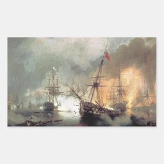Sea fight of navuarino rectangular sticker