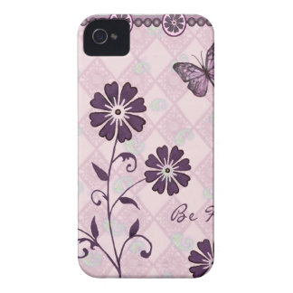 Sea flores púrpuras felices Case-Mate iPhone 4 cobertura