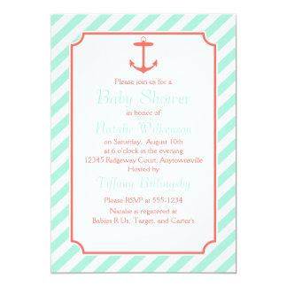 Sea Foam and Coral Anchor Silhouette Card