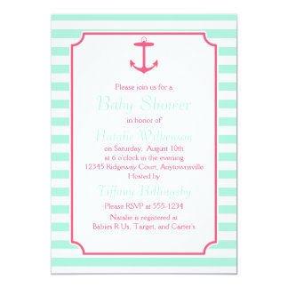 Sea Foam and Pink Anchor Silhouette Baby Shower 5x7 Paper Invitation Card
