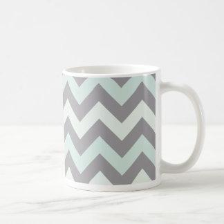 sea foam blue zig zag pattern classic white coffee mug