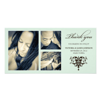 SEA FOAM FORMAL COLLAGE | WEDDING THANK YOU CARD