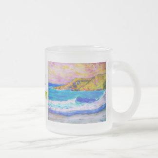sea foam frosted glass coffee mug
