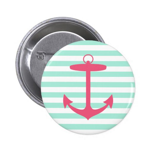 Sea Foam Green and Pink Anchor Buttons