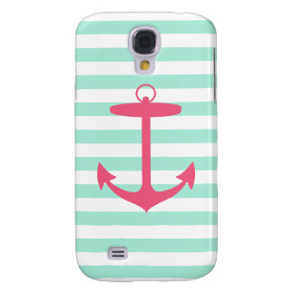 Sea Foam Green and Pink Anchor HTC Vivid Cover