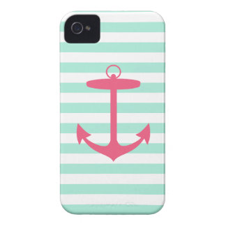 Sea Foam Green and Pink Anchor Case-Mate iPhone 4 Case
