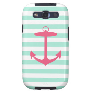 Sea Foam Green and Pink Anchor Samsung Galaxy SIII Covers
