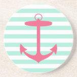 Sea Foam Green and Pink Anchor Coasters