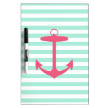 Sea Foam Green and Pink Anchor Dry-Erase Boards