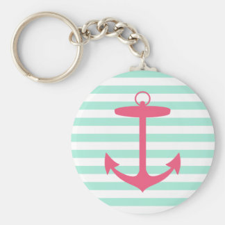 Sea Foam Green and Pink Anchor Keychain