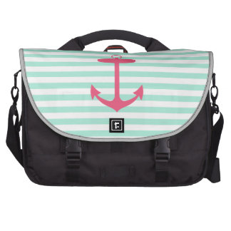Sea Foam Green and Pink Anchor Bags For Laptop