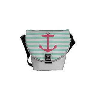 Sea Foam Green and Pink Anchor Messenger Bag