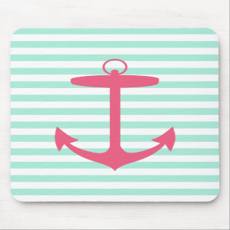 Sea Foam Green and Pink Anchor Mousepad