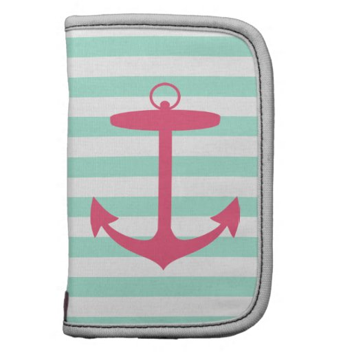 Sea Foam Green and Pink Anchor Planners