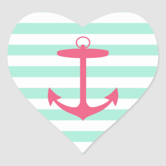 Sea Foam Green and Pink Anchor Stickers