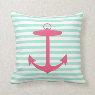 Sea Foam Green and Pink Anchor Throw Pillow