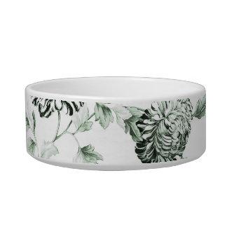 Sea Foam Green Floral Toile Customize Pet Name Bowl