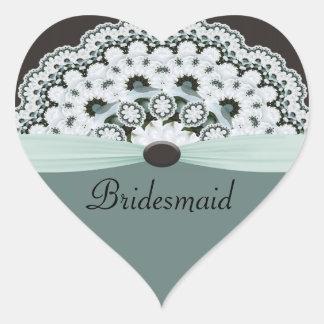 Sea Foam Green & Gray Doilie Wedding Heart Sticker