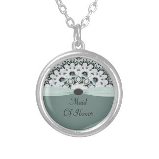 Sea Foam Green & Gray Doilie Wedding Silver Plated Necklace