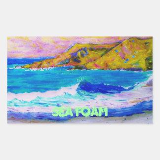 sea foam rectangular sticker