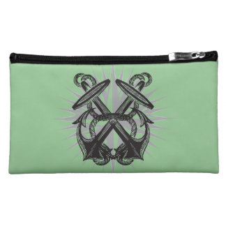 Sea Foam Vintage Double Anchor Cosmetics Bag Cosmetic Bags