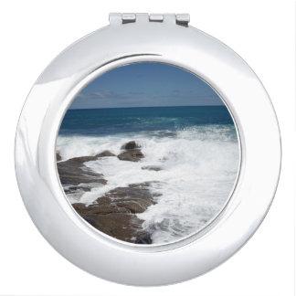 Sea_Foaming_Rocks, _Compact-Mirror. Espejos Para El Bolso
