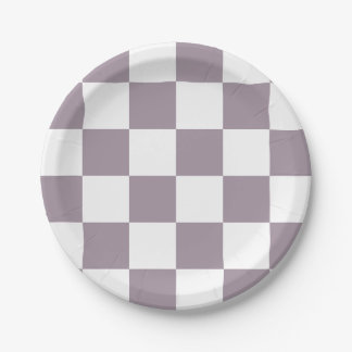 Sea Fog Purple/White Checkered Paper Plate