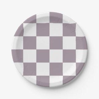 Sea Fog Purple/White Checkered 7 Inch Paper Plate