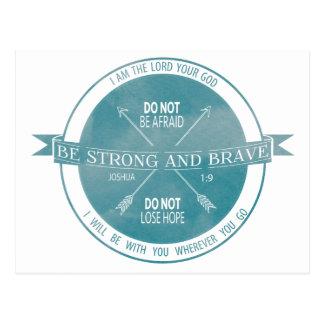 Sea fuerte y Brave, escritura del trullo Postales
