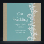 """Sea Garland Beach Wedding 3 Ring Binder<br><div class=""""desc"""">Keep all the special details of your destination wedding in this pretty teal and burlap starfish and seashell binder.  Personalize text as preferred.</div>"""