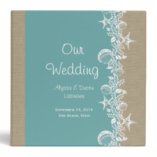Sea Garland Beach Wedding 3 Ring Binder