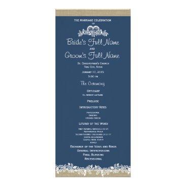 Beach Themed Sea Garland Navy Blue Wedding Program