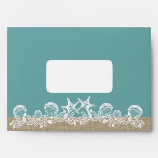 Sea Garland Starfish Beach Wedding Teal Envelope