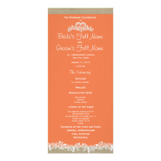 Sea Garland Tangerine and Burlap Wedding Program