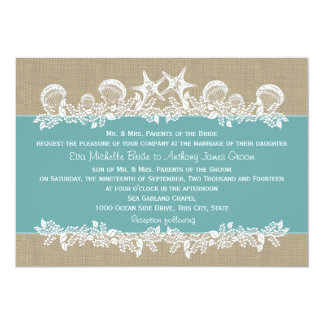 Sea Garland Teal Wedding Card