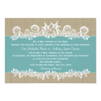 Sea Garland Teal Wedding 5x7 Paper Invitation Card