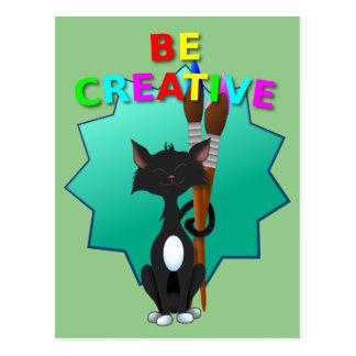 Sea gato blanco y negro creativo tarjeta postal