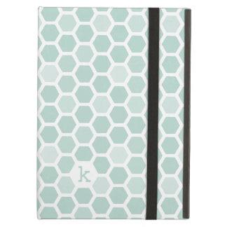 Sea Geometric Hexagon Pattern Monogram iPad Air Covers