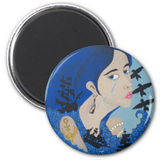Sea Girl 2 Inch Round Magnet