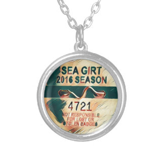 Sea Girt Beach Badge Silver Plated Necklace