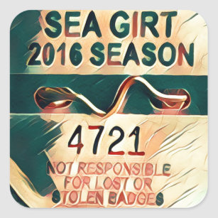 Sea Girt Beach Badge Square Sticker