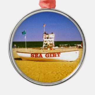 Sea Girt Lifeguard Boat Metal Ornament