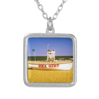 Sea Girt Lifeguard Boat Silver Plated Necklace