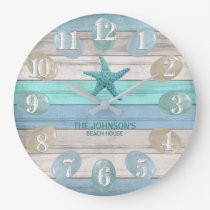 Sea Glass and Beach Wood Nautical - Blue Teal Large Clock