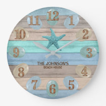 Sea Glass and Beach Wood Nautical Large Clock
