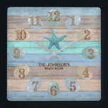 """Sea Glass and Beach Wood Nautical Square Wall Clock<br><div class=""""desc"""">Square Wall Clock. Add style to the home. Featuring a soft tan, blue and teal Beach Wood Stripes and nautical design with a starfish and sea glass. ⭐This Product is 100% Customizable. Graphics and/or text can be added, deleted, moved, resized, changed around, rotated, etc... ✔(just by clicking on the """"EDIT...</div>"""